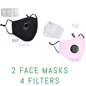 Accessories - 💎DEAL💎 2 Washable black Pink cotton face covers